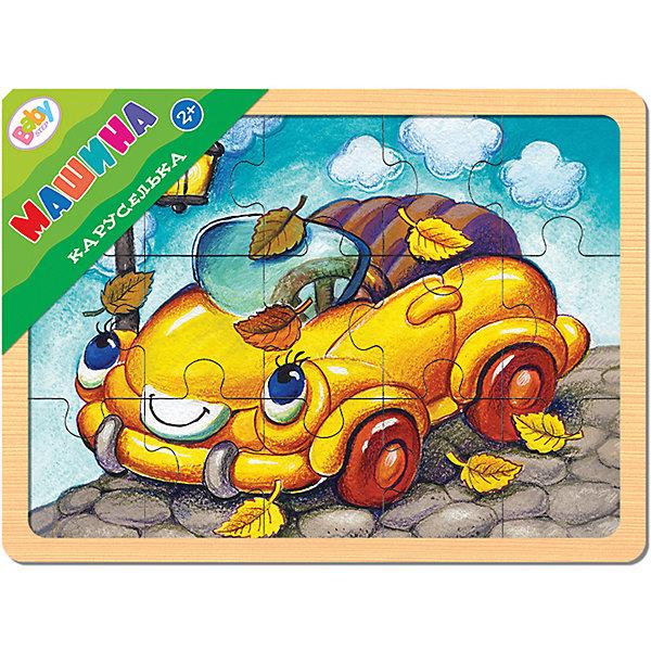 Пазл в рамке Step Puzzle Каруселька Машина, 15 элементовПазлы для малышей<br>Характеристики товара:<br><br>• возраст: от 2 лет;<br>• количество деталей: 15 шт.;<br>• комплект: 1 рамка-основа, 15 элементов;<br>• материал: дерево;<br>• размер рамки-основы: 22 х 14,7 см.;<br>• размер готовой картинки: 20 х 13,5 см.;<br>• размер упаковки: 22x15x1 см.;<br>• упаковка: пленка;<br>• бренд, страна производства: STEP puzzle, Россия.<br>                                                                                                                                                                                                                                                                                                                       <br>Деревянный пазл «Каруселька.Машина» привлекет внимание вашего малыша и поднимет настроение жизнерадостными образами. Игра с таким пазлом поможет ребенку в развитии логического мышления, воображения, памяти и мелкой моторики рук.<br><br>Пазл состоит из 15 красочных элементов, с помощью которых можно собрать картинку с изображением забавной машинки. Готовая поделка станет отличным украшением интерьера детской комнаты.<br><br>Деревянный пазл «Каруселька. Машина»,15 деталей,  STEP puzzle можно купить в нашем интернет-магазине.<br>Ширина мм: 220; Глубина мм: 149; Высота мм: 8; Вес г: 187; Возраст от месяцев: 24; Возраст до месяцев: 2147483647; Пол: Унисекс; Возраст: Детский; SKU: 7338403;