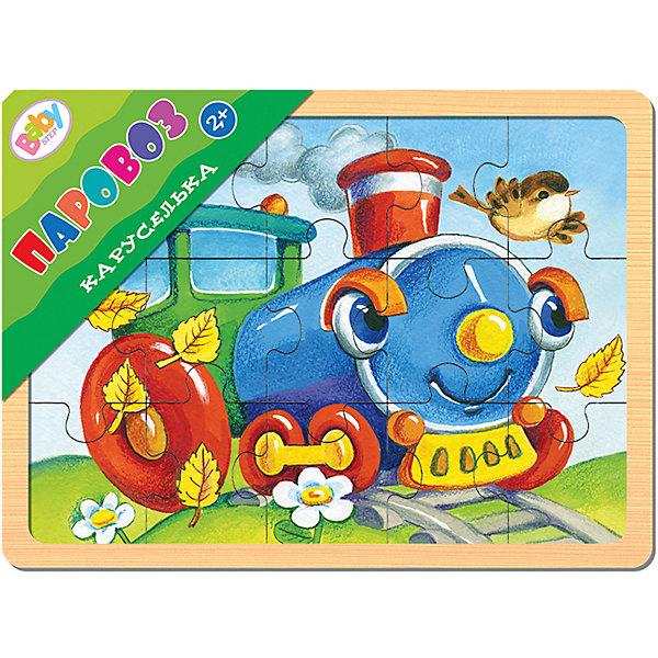 Пазл в рамке Step Puzzle Каруселька Паровоз, 15 элементовПазлы для малышей<br>Настольная развивающая игра из дерева Каруселька. Паровоз - экологически чистая и безопасная игрушка. Положительно влияет на развитие мелкой моторики и сенсорное восприятие ребенка.  <br><br>Эта игра для тех, кто только учится собирать пазлы. Простая картинка, оригинальная вырубка, эмоционально окрашенный образ помогут достичь результата.    <br><br><br>Характеристики игры:  <br><br>яркое изображение;<br>средний размер детали - 4,5 х 4 см.;<br>размер игрового планшета - 22 х 14,7 см.;<br>толщина игры - 7 мм.;<br>экологически чистые, нетоксичные материалы;<br>игра изготовлена из специально обработанного дерева, поверхность игры гладкая и безопасная.<br><br><br>Для кого подходит? <br>Игра понравится детям от 2-х лет. <br><br>Материал. <br>Дерево. <br><br>Что входит в состав игры?  <br><br>красочный деревянный планшет;<br>15 пазлов-вкладышей.<br><br><br>В серии Каруселька:  <br><br>a href=roductigra_iz_dereva_karuselka_samolyet_ay_steИгра из дерева Каруселька. Самолётa<br>a href=roductigra_iz_dereva_karuselka_korak_ay_steИгра из дерева Каруселька. Корабликa<br>a href=roductigra_iz_dereva_karuselka_kotyenok_ay_steИгра из дерева Каруселька. Котёнокa<br>a href=roductigra_iz_dereva_karuselka_shchenok_ay_steИгра из дерева Каруселька. Щенокa<br>a href=roductigra_iz_dereva_karuselka_mashina_ay_steИгра из дерева Каруселька. Машинаa<br>a href=roductigra_iz_dereva_karuselka_loshadka_ay_steИгра из дерева Каруселька. Лошадкаa<br>a href=roductigra_iz_dereva_karuselka_korovka_ay_steИгра из дерева Каруселька. Коровкаa<br><br>Ширина мм: 220<br>Глубина мм: 149<br>Высота мм: 8<br>Вес г: 187<br>Возраст от месяцев: 24<br>Возраст до месяцев: 2147483647<br>Пол: Унисекс<br>Возраст: Детский<br>SKU: 7338404