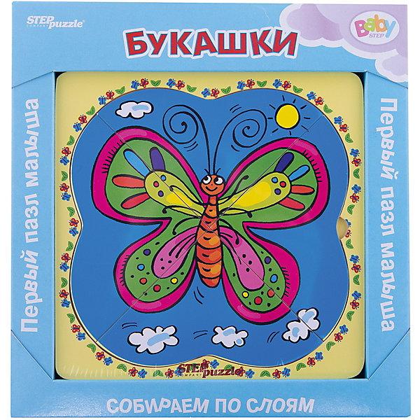 Многослойный пазл Step Puzzle Baby Step БукашкиПазлы для малышей<br>Характеристики товара:<br><br>• возраст: от 1 года;<br>• количество деталей: 6 шт.;<br>• материал: дерево;<br>• размер готовой картинки: 14 х 14 см.;<br>• размер упаковки: 19x19x1,5 см.;<br>• упаковка: картонная коробка открытого типа;<br>• бренд, страна производства: STEP puzzle, Россия.<br>                                                                                                                                                                                                                                                                                                                       <br>Деревянный пазл «Букашки» привлекет внимание вашего малыша и поднимет настроение жизнерадостными образами. Игра с таким пазлом поможет ребенку в развитии логического мышления, воображения, памяти и мелкой моторики рук.<br><br>Данный пазл состоит из 6 ярких элементов и предлагает ребенку собрать красочную картинку с изображением очаровательных букашек. Представленная мозаика состоит из рамки, где нудно разместить элементы пазла, каждый слой которого будет интересной картинкой.<br><br>Деревянный пазл «Букашки», 6 деталей,  STEP puzzle можно купить в нашем интернет-магазине.<br>Ширина мм: 189; Глубина мм: 189; Высота мм: 15; Вес г: 240; Возраст от месяцев: 12; Возраст до месяцев: 2147483647; Пол: Унисекс; Возраст: Детский; SKU: 7338406;