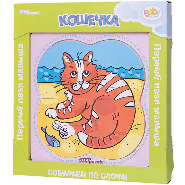 Многослойный пазл Step Puzzle Baby Step КошечкаПазлы для малышей<br>Характеристики товара:<br><br>• возраст: от 1 года;<br>• количество деталей: 6 шт.;<br>• материал: дерево;<br>• размер готовой картинки: 14 х 14 см.;<br>• размер упаковки: 19x19x1,5 см.;<br>• упаковка: картонная коробка открытого типа;<br>• бренд, страна производства: STEP puzzle, Россия.<br>                                                                                                                                                                                                                                                                                                                       <br>Деревянный пазл «Кошечка» привлекет внимание вашего малыша и поднимет настроение жизнерадостными образами. Игра с таким пазлом поможет ребенку в развитии логического мышления, воображения, памяти и мелкой моторики рук.<br><br>Данный пазл состоит из 6 ярких элементов и предлагает ребенку собрать красочную картинку с изображением очаровательной кошечки. Представленная мозаика состоит из рамки, где нудно разместить элементы пазла, каждый слой которого будет интересной картинкой.<br><br>Деревянный пазл «Кошечка», 6 деталей,  STEP puzzle можно купить в нашем интернет-магазине.<br><br>Ширина мм: 189<br>Глубина мм: 189<br>Высота мм: 15<br>Вес г: 240<br>Возраст от месяцев: 12<br>Возраст до месяцев: 2147483647<br>Пол: Унисекс<br>Возраст: Детский<br>SKU: 7338408