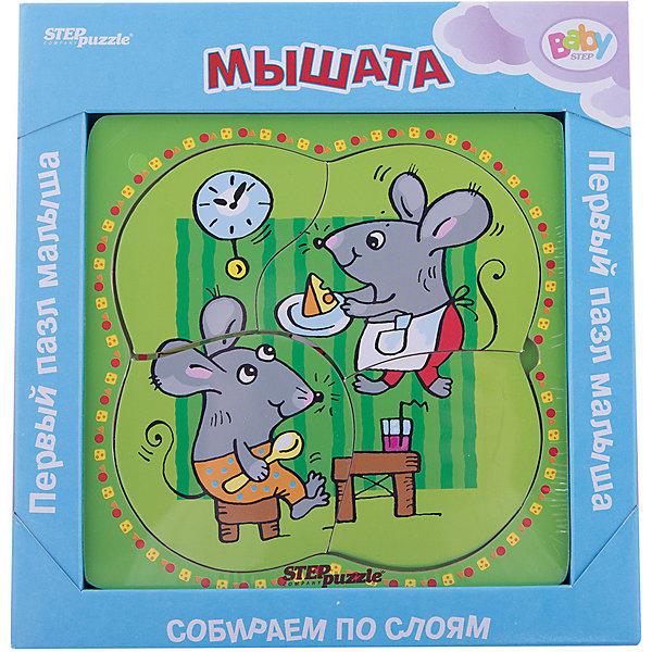 Многослойный пазл Step Puzzle Baby Step МышатаПазлы для малышей<br>Характеристики товара:<br><br>• возраст: от 1 года;<br>• количество деталей: 6 шт.;<br>• материал: дерево;<br>• размер готовой картинки: 14 х 14 см.;<br>• размер упаковки: 19x19x1,5 см.;<br>• упаковка: картонная коробка открытого типа;<br>• бренд, страна производства: STEP puzzle, Россия.<br>                                                                                                                                                                                                                                                                                                                       <br>Деревянный пазл «Мышата» привлекет внимание вашего малыша и поднимет настроение жизнерадостными образами. Игра с таким пазлом поможет ребенку в развитии логического мышления, воображения, памяти и мелкой моторики рук.<br><br>Данный пазл состоит из 6 ярких элементов и предлагает ребенку собрать красочную картинку с изображением очаровательных мышат. Представленная мозаика состоит из рамки, где нудно разместить элементы пазла, каждый слой которого будет интересной картинкой.<br><br>Деревянный пазл «Мышата», 6 деталей,  STEP puzzle можно купить в нашем интернет-магазине.<br>Ширина мм: 189; Глубина мм: 189; Высота мм: 15; Вес г: 240; Возраст от месяцев: 12; Возраст до месяцев: 2147483647; Пол: Унисекс; Возраст: Детский; SKU: 7338410;
