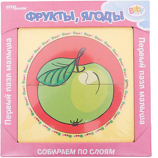 Многослойный пазл Step Puzzle Baby Step Фрукты, ягодыПазлы для малышей<br>Характеристики товара:<br><br>• возраст: от 1 года;<br>• количество деталей: 6 шт.;<br>• материал: дерево;<br>• размер готовой картинки: 14 х 14 см.;<br>• размер упаковки: 19x19x1,5 см.;<br>• упаковка: картонная коробка открытого типа;<br>• бренд, страна производства: STEP puzzle, Россия.<br>                                                                                                                                                                                                                                                                                                                       <br>Деревянный пазл «Фрукты, Ягоды» привлекет внимание вашего малыша и поднимет настроение жизнерадостными образами. Игра с таким пазлом поможет ребенку в развитии логического мышления, воображения, памяти и мелкой моторики рук.<br><br>Данный пазл состоит из 6 ярких элементов и предлагает ребенку собрать красочную картинку с изображением зеленого яблочка. Представленная мозаика состоит из рамки, где нудно разместить элементы пазла, каждый слой которого будет интересной картинкой.<br><br>Деревянный пазл «Фрукты, Ягоды», 6 деталей,  STEP puzzle можно купить в нашем интернет-магазине.<br><br>Ширина мм: 189<br>Глубина мм: 189<br>Высота мм: 15<br>Вес г: 240<br>Возраст от месяцев: 12<br>Возраст до месяцев: 2147483647<br>Пол: Унисекс<br>Возраст: Детский<br>SKU: 7338415