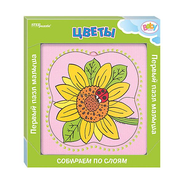 Многослойный пазл Step Puzzle Baby Step ЦветыПазлы для малышей<br>Характеристики товара:<br><br>• возраст: от 1 года;<br>• количество деталей: 6 шт.;<br>• материал: дерево;<br>• размер готовой картинки: 14 х 14 см.;<br>• размер упаковки: 19x19x1,5 см.;<br>• упаковка: картонная коробка открытого типа;<br>• бренд, страна производства: STEP puzzle, Россия.<br>                                                                                                                                                                                                                                                                                                                       <br>Деревянный пазл «Цветы» привлекет внимание вашего малыша и поднимет настроение жизнерадостными образами. Игра с таким пазлом поможет ребенку в развитии логического мышления, воображения, памяти и мелкой моторики рук.<br><br>Данный пазл состоит из 6 ярких элементов и предлагает ребенку собрать красочную картинку с изображением желтого подсолнуха с божьей коровкой на нем. Представленная мозаика состоит из рамки, где нудно разместить элементы пазла, каждый слой которого будет интересной картинкой.<br><br>Деревянный пазл «Цветы», 6 деталей,  STEP puzzle можно купить в нашем интернет-магазине.<br><br>Ширина мм: 189<br>Глубина мм: 189<br>Высота мм: 15<br>Вес г: 240<br>Возраст от месяцев: 12<br>Возраст до месяцев: 2147483647<br>Пол: Унисекс<br>Возраст: Детский<br>SKU: 7338416