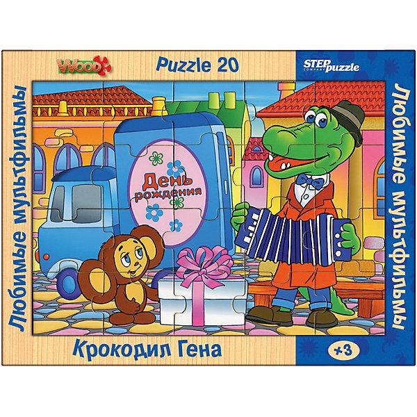 Пазл Step Puzzle Любимые мультфильмы Крокодил Гена, 20 элементовСоветские мультфильмы<br>Характеристики товара:<br><br>• возраст: от 3 лет;<br>• количество элементов: 20;<br>• материал: дерево;<br>• размер собранного пазла: 26х19 см;<br>• упаковка: картонная коробка;<br>• размер упаковки: 36х27х2 см;<br>• бренд, страна производства: STEP puzzle, Россия.<br><br>Деревянный пазл «Любимые мультфильмы. Крокодил Гена» состоит из 20 крупных и ярких элементов, которые образуют чудесную картинку с изображением любимых героев - Чебурашки и Крокодила Гену.  <br><br>Большие детали позволяют самостоятельно собирать картинку даже маленьким детям. Пазл сделан из качественного дерева, каждая детать хорошо проработана, исключая возможности нечаянно пораниться. <br><br>Пазл упакован в картонную коробку с изображением основной картинки, на которую удобно ориентироваться при сборке. Собирая пазл, ребенок будет развивать концентрацию внимания, память, визуальное восприятие, логическое мышление и мелкую моторику рук.<br><br>Деревянный пазл «Любимые мультфильмы. Крокодил Гена», 20 элементов можно купить в нашем интернет-магазине.<br>Ширина мм: 360; Глубина мм: 270; Высота мм: 20; Вес г: 400; Возраст от месяцев: 36; Возраст до месяцев: 2147483647; Пол: Унисекс; Возраст: Детский; SKU: 7338417;