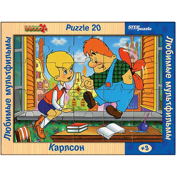 Пазл Step Puzzle Любимые мультфильмы Приключения друзей, 20 элементовПазлы для малышей<br>Характеристики товара:<br><br>• возраст: от 3 лет;<br>• количество элементов: 20;<br>• материал: дерево;<br>• размер собранного пазла: 26х19 см;<br>• упаковка: картонная коробка;<br>• размер упаковки: 36х27х2 см;<br>• бренд, страна производства: STEP puzzle, Россия.<br><br>Деревянный пазл «Любимые мультфильмы. Приключения друзей» состоит из 20 крупных и ярких элементов, которые образуют чудесную картинку с изображением любимых героев из мультфильма  «Малыш и Карлосон»<br><br>Большие детали позволяют самостоятельно собирать картинку даже маленьким детям. Пазл сделан из качественного дерева, каждая детать хорошо проработана, исключая возможности нечаянно пораниться. <br><br>Пазл упакован в картонную коробку с изображением основной картинки, на которую удобно ориентироваться при сборке. Собирая пазл, ребенок будет развивать концентрацию внимания, память, визуальное восприятие, логическое мышление и мелкую моторику рук.<br><br>Деревянный пазл ««Любимые мультфильмы. Приключения друзей», 20 элементов можно купить в нашем интернет-магазине.<br>Ширина мм: 360; Глубина мм: 270; Высота мм: 20; Вес г: 400; Возраст от месяцев: 36; Возраст до месяцев: 2147483647; Пол: Унисекс; Возраст: Детский; SKU: 7338418;