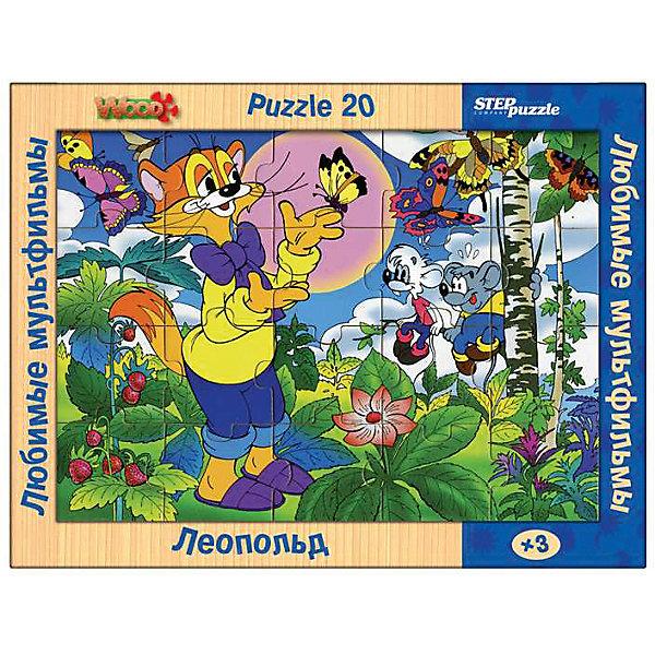 Пазл Step Puzzle Любимые мультфильмы Леопольд, 20 элементовСоветские мультфильмы<br>Характеристики товара:<br><br>• возраст: от 3 лет;<br>• количество элементов: 20;<br>• материал: дерево;<br>• размер собранного пазла: 26х19 см;<br>• упаковка: картонная коробка;<br>• размер упаковки: 36х27х2 см;<br>• бренд, страна производства: STEP puzzle, Россия.<br><br>Деревянный пазл «Любимые мультфильмы. Леопольд» состоит из 20 крупных и ярких элементов, которые образуют чудесную картинку с изображением любимых героев из одноименного мультфильма. <br><br>Большие детали позволяют самостоятельно собирать картинку даже маленьким детям. Пазл сделан из качественного дерева, каждая детать хорошо проработана, исключая возможности нечаянно пораниться. <br><br>Пазл упакован в картонную коробку с изображением основной картинки, на которую удобно ориентироваться при сборке. Собирая пазл, ребенок будет развивать концентрацию внимания, память, визуальное восприятие, логическое мышление и мелкую моторику рук.<br><br>Деревянный пазл «Любимые мультфильмы. Леопольд», 20 элементов можно купить в нашем интернет-магазине.<br>Ширина мм: 360; Глубина мм: 270; Высота мм: 20; Вес г: 400; Возраст от месяцев: 36; Возраст до месяцев: 2147483647; Пол: Унисекс; Возраст: Детский; SKU: 7338419;