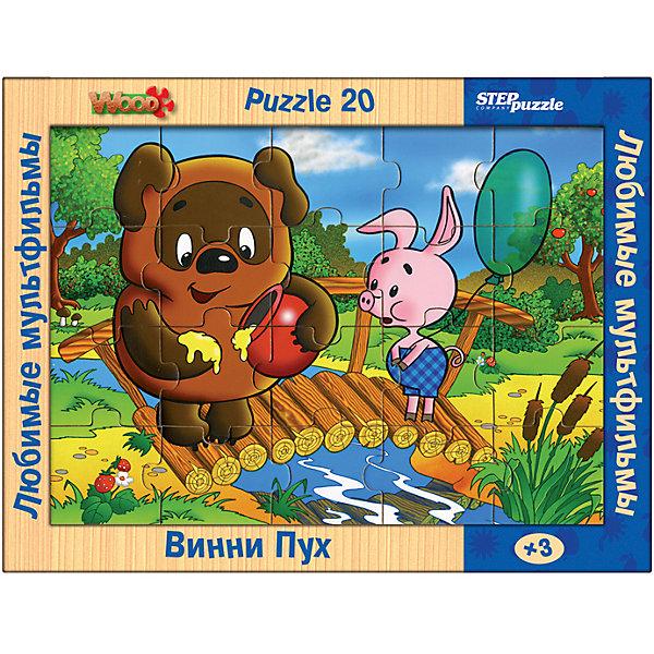 Пазл Step Puzzle Любимые мультфильмы Винни-Пух, 20 элементовПазлы для малышей<br>Характеристики товара:<br><br>• возраст: от 3 лет;<br>• количество элементов: 20;<br>• материал: дерево;<br>• размер собранного пазла: 26х19 см;<br>• упаковка: картонная коробка;<br>• размер упаковки: 36х27х2 см;<br>• бренд, страна производства: STEP puzzle, Россия.<br><br>Деревянный пазл «Любимые мультфильмы.Винни Пух» состоит из 20 крупных и ярких элементов, которые образуют чудесную картинку с изображением любимых героев из одноименного мультфильма. <br><br>Большие детали позволяют самостоятельно собирать картинку даже маленьким детям. Пазл сделан из качественного дерева, каждая детать хорошо проработана, исключая возможности нечаянно пораниться. <br><br>Пазл упакован в картонную коробку с изображением основной картинки, на которую удобно ориентироваться при сборке. Собирая пазл, ребенок будет развивать концентрацию внимания, память, визуальное восприятие, логическое мышление и мелкую моторику рук.<br><br>Деревянный пазл «Любимые мультфильмы. Винни Пух», 20 элементов можно купить в нашем интернет-магазине.<br>Ширина мм: 350; Глубина мм: 270; Высота мм: 25; Вес г: 400; Возраст от месяцев: 36; Возраст до месяцев: 2147483647; Пол: Унисекс; Возраст: Детский; SKU: 7338421;