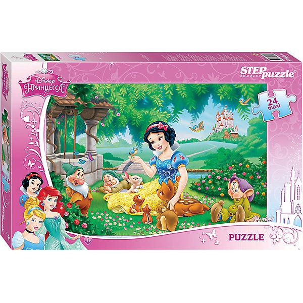 Пазл Maxi Step Puzzle Disney Принцессы. Белоснежка new, 24 элементаПринцессы Дисней<br>Характеристики товара:<br><br>• возраст: от 3 лет;<br>• количество элементов: 24;<br>• материал: картон;<br>• размер собранного пазла: 50х34,5 см;<br>• упаковка: картонная коробка;<br>• размер упаковки: 38х25х5 см;<br>• бренд, страна производства: STEP puzzle, Россия.<br><br>Макси-пазл «Белоснежка Disney» состоит из 24 крупных и ярких элементов, которые образуют чудесную картинку с изображением любимых героев Диснея - Белоснежки и ее друзей.  <br><br>Пазл упакован в картонную коробку с изображением основной картинки, на которую удобно ориентироваться при сборке. Большие детали позволяют самостоятельно собирать картинку даже маленьким детям.<br><br>Пазл сделан из прочных и качественных, нетоксичных и гипоаллергенных материалов. Собирая пазл, ребенок будет развивать концентрацию внимания, память, визуальное восприятие, логическое мышление и мелкую моторику рук.<br><br>Макси-пазл «Белоснежка Disney», 24 элемента можно купить в нашем интернет-магазине.<br>Ширина мм: 375; Глубина мм: 245; Высота мм: 40; Вес г: 658; Возраст от месяцев: 36; Возраст до месяцев: 2147483647; Пол: Женский; Возраст: Детский; SKU: 7338426;