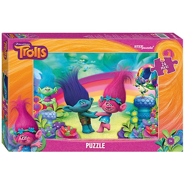 Пазл Maxi Step Puzzle Тролли, 24 элементаПазлы для малышей<br>Характеристики товара:<br><br>• возраст: от 3 лет;<br>• количество элементов: 24;<br>• материал: картон;<br>• размер собранного пазла: 50х34,5 см;<br>• упаковка: картонная коробка;<br>• размер упаковки: 38х25х5 см;<br>• бренд, страна производства: STEP puzzle, Россия.<br><br>Макси-пазл «Trolls» состоит из 24 крупных и ярких элементов, которые образуют чудесную картинку с изображением любимых героев - веселых троллей из одноименного мультфильма. <br><br>Пазл упакован в картонную коробку с изображением основной картинки, на которую удобно ориентироваться при сборке. Большие детали позволяют самостоятельно собирать картинку даже маленьким детям.<br><br>Пазл сделан из прочных и качественных, нетоксичных и гипоаллергенных материалов. Собирая пазл, ребенок будет развивать концентрацию внимания, память, визуальное восприятие, логическое мышление и мелкую моторику рук.<br><br>Макси-пазл «Trolls», 24 элемента можно купить в нашем интернет-магазине.<br>Ширина мм: 375; Глубина мм: 245; Высота мм: 40; Вес г: 658; Возраст от месяцев: 36; Возраст до месяцев: 2147483647; Пол: Унисекс; Возраст: Детский; SKU: 7338430;