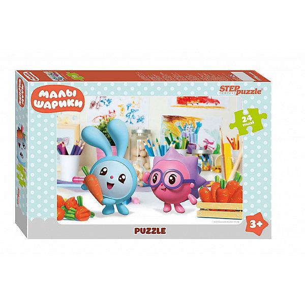 Пазл Maxi Step Puzzle Малышарики, 24 элементаПазлы для малышей<br>Характеристики товара:<br><br>• возраст: от 3 лет;<br>• количество элементов: 24;<br>• материал: картон;<br>• размер собранного пазла: 50х34,5 см;<br>• упаковка: картонная коробка;<br>• размер упаковки: 38х25х5 см;<br>• бренд, страна производства: STEP puzzle, Россия.<br><br>Макси-пазл «Малышарики» состоит из 24 крупных и ярких элементов, которые образуют чудесную картинку с изображением любимых героев - веселых малышариков из одноименного мультфильма. <br><br>Пазл упакован в картонную коробку с изображением основной картинки, на которую удобно ориентироваться при сборке. Большие детали позволяют самостоятельно собирать картинку даже маленьким детям.<br><br>Пазл сделан из прочных и качественных, нетоксичных и гипоаллергенных материалов. Собирая пазл, ребенок будет развивать концентрацию внимания, память, визуальное восприятие, логическое мышление и мелкую моторику рук.<br><br>Макси-пазл «Малышарики», 24 элемента можно купить в нашем интернет-магазине.<br>Ширина мм: 375; Глубина мм: 245; Высота мм: 40; Вес г: 658; Возраст от месяцев: 36; Возраст до месяцев: 2147483647; Пол: Унисекс; Возраст: Детский; SKU: 7338431;