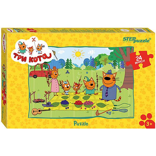 Пазл Maxi Step Puzzle Три кота, 24 элементаПазлы для малышей<br>Характеристики товара:<br><br>• возраст: от 3 лет;<br>• количество элементов: 24;<br>• материал: картон;<br>• размер собранного пазла: 50х34,5 см;<br>• упаковка: картонная коробка;<br>• размер упаковки: 38х25х5 см;<br>• бренд, страна производства: STEP puzzle, Россия.<br><br>Макси-пазл «Три кота» состоит из 24 крупных и ярких элементов, которые образуют чудесную картинку с изображением любимых героев из одноименного мультфильма. <br><br>Пазл упакован в картонную коробку с изображением основной картинки, на которую удобно ориентироваться при сборке. Большие детали позволяют самостоятельно собирать картинку даже маленьким детям.<br><br>Пазл сделан из прочных и качественных, нетоксичных и гипоаллергенных материалов. Собирая пазл, ребенок будет развивать концентрацию внимания, память, визуальное восприятие, логическое мышление и мелкую моторику рук.<br><br>Макси-пазл «Три кота», 24 элемента можно купить в нашем интернет-магазине.<br>Ширина мм: 375; Глубина мм: 245; Высота мм: 40; Вес г: 658; Возраст от месяцев: 36; Возраст до месяцев: 2147483647; Пол: Унисекс; Возраст: Детский; SKU: 7338433;