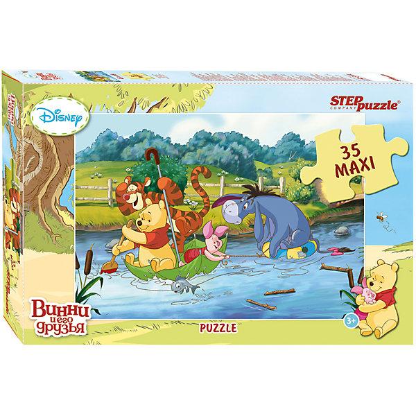 Пазл Maxi Step Puzzle Disney Медвежонок Винни, 35 элементовПазлы для малышей<br>Характеристики товара:<br><br>• возраст: от 3 лет;<br>• количество элементов: 35;<br>• материал: картон;<br>• размер собранного пазла: 68х48 см;<br>• упаковка: картонная коробка;<br>• размер упаковки: 40х27х5,5 см;<br>• бренд, страна производства: STEP puzzle, Россия.<br><br>Макси-пазл «Медвежонок Винни. Disney» состоит из 35 крупных и ярких элементов, которые образуют чудесную картинку с изображением любимых героев Диснея - Медвежонка Винни и его друзей.  <br><br>Пазл упакован в картонную коробку с изображением основной картинки, на которую удобно ориентироваться при сборке. Большие детали позволяют самостоятельно собирать картинку даже маленьким детям.<br><br>Пазл сделан из прочных и качественных, нетоксичных и гипоаллергенных материалов. Собирая пазл, ребенок будет развивать концентрацию внимания, память, визуальное восприятие, логическое мышление и мелкую моторику рук.<br><br>Макси-пазл «Медвежонок Винни. Disney», 35 элементов можно купить в нашем интернет-магазине.<br>Ширина мм: 400; Глубина мм: 270; Высота мм: 55; Вес г: 780; Возраст от месяцев: 36; Возраст до месяцев: 2147483647; Пол: Унисекс; Возраст: Детский; SKU: 7338434;