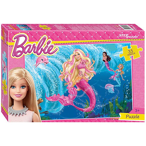Пазл Maxi Step Puzzle Барби, 35 элементовПазлы для малышей<br>Характеристики товара:<br><br>• возраст: от 3 лет;<br>• количество элементов: 35;<br>• материал: картон;<br>• размер собранного пазла: 68х48 см;<br>• упаковка: картонная коробка;<br>• размер упаковки: 40х27х5,5 см;<br>• бренд, страна производства: STEP puzzle, Россия.<br><br>Макси-пазл «Барби. Русалки» состоит из 35 крупных и ярких элементов, которые образуют чудесную картинку с изображением красивых кукол барби в образе русалок.<br><br>Пазл упакован в картонную коробку с изображением основной картинки, на которую удобно ориентироваться при сборке. Большие детали позволяют самостоятельно собирать картинку даже маленьким детям.<br><br>Пазл сделан из прочных и качественных, нетоксичных и гипоаллергенных материалов. Собирая пазл, ребенок будет развивать концентрацию внимания, память, визуальное восприятие, логическое мышление и мелкую моторику рук.<br><br>Макси-пазл «Барби. Русалки», 35 элементов можно купить в нашем интернет-магазине.<br>Ширина мм: 400; Глубина мм: 270; Высота мм: 55; Вес г: 780; Возраст от месяцев: 36; Возраст до месяцев: 2147483647; Пол: Женский; Возраст: Детский; SKU: 7338437;