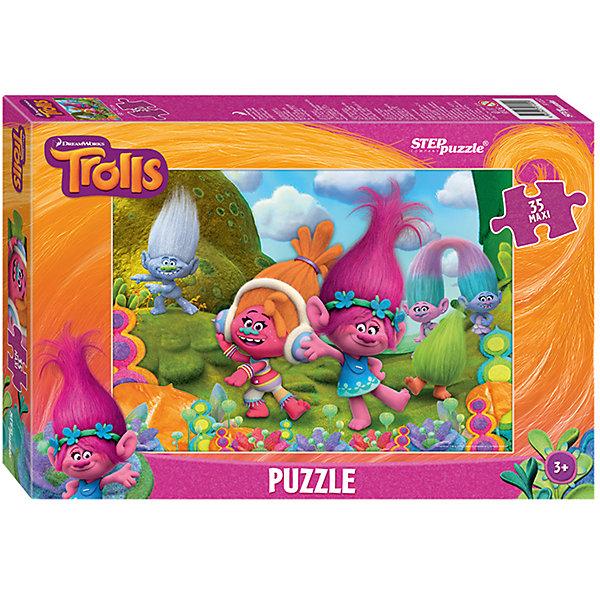 Пазл Maxi Step Puzzle Тролли, 35 элементовПазлы для малышей<br>Характеристики товара:<br><br>• возраст: от 3 лет;<br>• количество элементов: 35;<br>• материал: картон;<br>• размер собранного пазла: 68х48 см;<br>• упаковка: картонная коробка;<br>• размер упаковки: 40х27х5,5 см;<br>• бренд, страна производства: STEP puzzle, Россия.<br><br>Макси-пазл «Trolls» состоит из 35 крупных и ярких элементов, которые образуют чудесную картинку с изображением любимых героев  - забавных троллей из одноименного мультфильма.<br><br>Пазл упакован в картонную коробку с изображением основной картинки, на которую удобно ориентироваться при сборке. Большие детали позволяют самостоятельно собирать картинку даже маленьким детям.<br><br>Пазл сделан из прочных и качественных, нетоксичных и гипоаллергенных материалов. Собирая пазл, ребенок будет развивать концентрацию внимания, память, визуальное восприятие, логическое мышление и мелкую моторику рук.<br><br>Макси-пазл «Trolls», 35 элементов можно купить в нашем интернет-магазине.<br><br>Ширина мм: 400<br>Глубина мм: 270<br>Высота мм: 55<br>Вес г: 780<br>Возраст от месяцев: 36<br>Возраст до месяцев: 2147483647<br>Пол: Унисекс<br>Возраст: Детский<br>SKU: 7338439