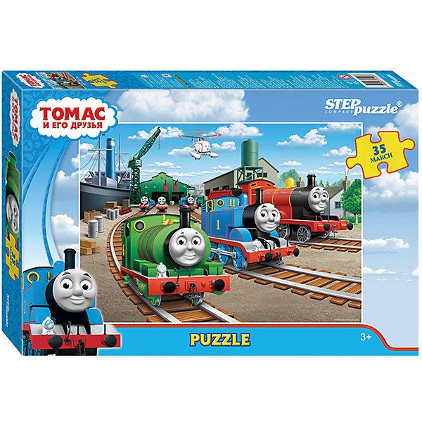 Пазл Maxi Step Puzzle Томас и его друзья, 35 элементовПазлы для малышей<br>Характеристики товара:<br><br>• возраст: от 3 лет;<br>• количество элементов: 35;<br>• материал: картон;<br>• размер собранного пазла: 68х48 см;<br>• упаковка: картонная коробка;<br>• размер упаковки: 40х27х5,5 см;<br>• бренд, страна производства: STEP puzzle, Россия.<br><br>Макси-пазл «Томас и его друзья» состоит из 35 крупных и ярких элементов, которые образуют чудесную картинку с изображением любимых героев из одноименного мультфильма.<br><br>Пазл упакован в картонную коробку с изображением основной картинки, на которую удобно ориентироваться при сборке. Большие детали позволяют самостоятельно собирать картинку даже маленьким детям.<br><br>Пазл сделан из прочных и качественных, нетоксичных и гипоаллергенных материалов. Собирая пазл, ребенок будет развивать концентрацию внимания, память, визуальное восприятие, логическое мышление и мелкую моторику рук.<br><br>Макси-пазл «Томас и его друзья», 35 элементов можно купить в нашем интернет-магазине.<br>Ширина мм: 400; Глубина мм: 270; Высота мм: 55; Вес г: 780; Возраст от месяцев: 36; Возраст до месяцев: 2147483647; Пол: Унисекс; Возраст: Детский; SKU: 7338440;
