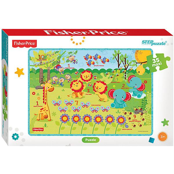 Пазл Maxi Step Puzzle Fisher Price, 35 элементовПазлы для малышей<br>Характеристики товара:<br><br>• возраст: от 3 лет;<br>• количество элементов: 35;<br>• материал: картон;<br>• размер собранного пазла: 68х48 см;<br>• упаковка: картонная коробка;<br>• размер упаковки: 40х27х5,5 см;<br>• бренд, страна производства: STEP puzzle, Россия.<br><br>Макси-пазл «Fisher Price» состоит из 35 крупных и ярких элементов, которые образуют чудесную картинку с изображением веселых животных.<br><br>Пазл упакован в картонную коробку с изображением основной картинки, на которую удобно ориентироваться при сборке. Большие детали позволяют самостоятельно собирать картинку даже маленьким детям.<br><br>Пазл сделан из прочных и качественных, нетоксичных и гипоаллергенных материалов. Собирая пазл, ребенок будет развивать концентрацию внимания, память, визуальное восприятие, логическое мышление и мелкую моторику рук.<br><br>Макси-пазл «Fisher Price», 35 элементов можно купить в нашем интернет-магазине.<br>Ширина мм: 400; Глубина мм: 270; Высота мм: 55; Вес г: 780; Возраст от месяцев: 36; Возраст до месяцев: 2147483647; Пол: Унисекс; Возраст: Детский; SKU: 7338441;
