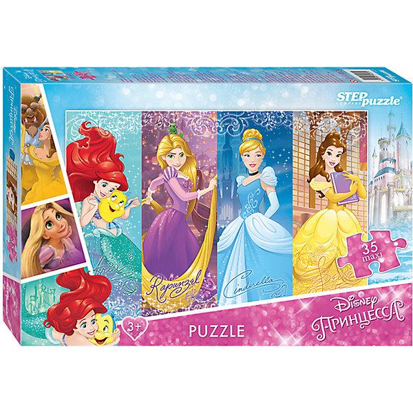 Пазл Maxi Step Puzzle Disney Принцессы, 35 элементовПазлы для малышей<br>Характеристики товара:<br><br>• возраст: от 3 лет;<br>• количество элементов: 35;<br>• материал: картон;<br>• размер собранного пазла: 68х48 см;<br>• упаковка: картонная коробка;<br>• размер упаковки: 40х27х5,5 см;<br>• бренд, страна производства: STEP puzzle, Россия.<br><br>Макси-пазл «Принцессы. Disney» состоит из 35 крупных и ярких элементов, которые образуют чудесную картинку с изображением любимых принцесс Disney - Золушка, Рапунцель, Русалочка.<br><br>Пазл упакован в картонную коробку с изображением основной картинки, на которую удобно ориентироваться при сборке. Большие детали позволяют самостоятельно собирать картинку даже маленьким детям.<br><br>Пазл сделан из прочных и качественных, нетоксичных и гипоаллергенных материалов. Собирая пазл, ребенок будет развивать концентрацию внимания, память, визуальное восприятие, логическое мышление и мелкую моторику рук.<br><br>Макси-пазл «Принцессы. Disney», 35 элементов можно купить в нашем интернет-магазине.<br><br>Ширина мм: 400<br>Глубина мм: 270<br>Высота мм: 55<br>Вес г: 780<br>Возраст от месяцев: 36<br>Возраст до месяцев: 2147483647<br>Пол: Женский<br>Возраст: Детский<br>SKU: 7338443
