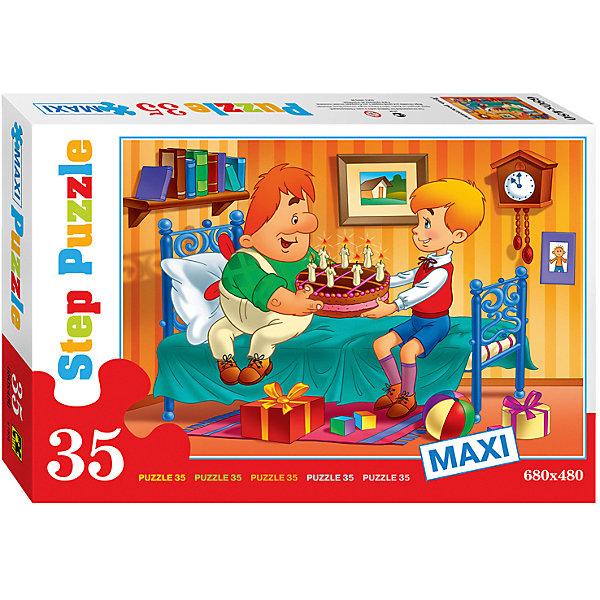 Пазл Maxi Step Puzzle День рождения, 35 элементовПазлы для малышей<br>Характеристики товара:<br><br>• возраст: от 3 лет;<br>• количество элементов: 35;<br>• материал: картон;<br>• размер собранного пазла: 68х48 см;<br>• упаковка: картонная коробка;<br>• размер упаковки: 40х27х5,5 см;<br>• бренд, страна производства: STEP puzzle, Россия.<br><br>Макси-пазл «День рождения» состоит из 35 крупных и ярких элементов, которые образуют чудесную картинку с изображением любымых героев советского мультфильма «Малыш и Карлосон».<br><br>Пазл упакован в картонную коробку с изображением основной картинки, на которую удобно ориентироваться при сборке. Большие детали позволяют самостоятельно собирать картинку даже маленьким детям.<br><br>Пазл сделан из прочных и качественных, нетоксичных и гипоаллергенных материалов. Собирая пазл, ребенок будет развивать концентрацию внимания, память, визуальное восприятие, логическое мышление и мелкую моторику рук.<br><br>Макси-пазл «День рождения», 35 элементов можно купить в нашем интернет-магазине.<br>Ширина мм: 400; Глубина мм: 270; Высота мм: 55; Вес г: 740; Возраст от месяцев: 36; Возраст до месяцев: 2147483647; Пол: Унисекс; Возраст: Детский; SKU: 7338444;