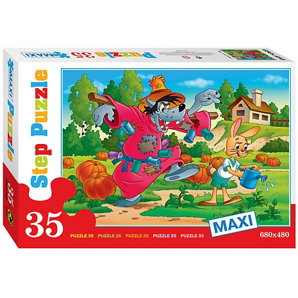 Пазл Maxi Step Puzzle Ну, погоди!, 35 элементовСоветские мультфильмы<br>Характеристики товара:<br><br>• возраст: от 3 лет;<br>• количество элементов: 35;<br>• материал: картон;<br>• размер собранного пазла: 68х48 см;<br>• упаковка: картонная коробка;<br>• размер упаковки: 40х27х5,5 см;<br>• бренд, страна производства: STEP puzzle, Россия.<br><br>Макси-пазл «Ну, погоди !» состоит из 35 крупных и ярких элементов, которые образуют чудесную картинку с изображением любымых героев из одноименного мультфильма.<br><br>Пазл упакован в картонную коробку с изображением основной картинки, на которую удобно ориентироваться при сборке. Большие детали позволяют самостоятельно собирать картинку даже маленьким детям.<br><br>Пазл сделан из прочных и качественных, нетоксичных и гипоаллергенных материалов. Собирая пазл, ребенок будет развивать концентрацию внимания, память, визуальное восприятие, логическое мышление и мелкую моторику рук.<br><br>Макси-пазл «Ну, погоди !», 35 элементов можно купить в нашем интернет-магазине.<br>Ширина мм: 400; Глубина мм: 270; Высота мм: 55; Вес г: 740; Возраст от месяцев: 36; Возраст до месяцев: 2147483647; Пол: Унисекс; Возраст: Детский; SKU: 7338446;
