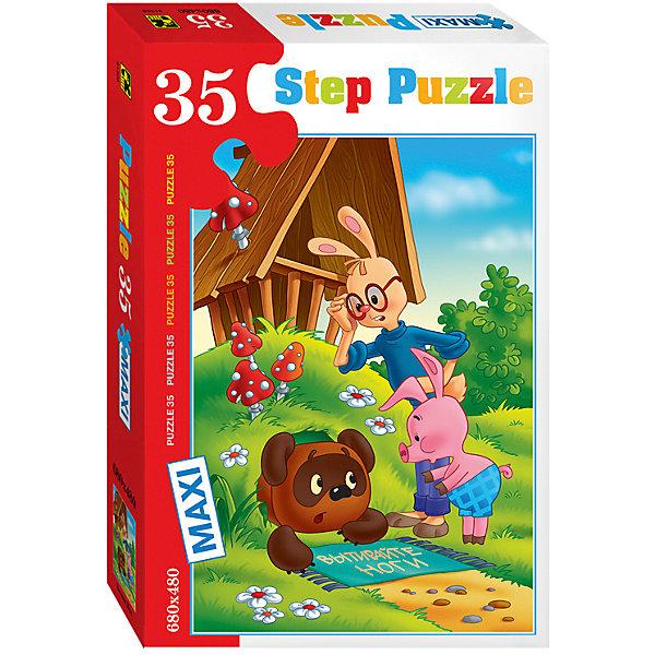 Пазл Maxi Step Puzzle Винни-Пух, 35 элементовСоветские мультфильмы<br>Характеристики товара:<br><br>• возраст: от 3 лет;<br>• количество элементов: 35;<br>• материал: картон;<br>• размер собранного пазла: 68х48 см;<br>• упаковка: картонная коробка;<br>• размер упаковки: 40х27х5,5 см;<br>• бренд, страна производства: STEP puzzle, Россия.<br><br>Макси-пазл «Винни Пух» состоит из 35 крупных и ярких элементов, которые образуют чудесную картинку с изображением любымых героев из одноименного мультфильма.<br><br>Пазл упакован в картонную коробку с изображением основной картинки, на которую удобно ориентироваться при сборке. Большие детали позволяют самостоятельно собирать картинку даже маленьким детям.<br><br>Пазл сделан из прочных и качественных, нетоксичных и гипоаллергенных материалов. Собирая пазл, ребенок будет развивать концентрацию внимания, память, визуальное восприятие, логическое мышление и мелкую моторику рук.<br><br>Макси-пазл «Винни Пух», 35 элементов можно купить в нашем интернет-магазине.<br>Ширина мм: 400; Глубина мм: 270; Высота мм: 55; Вес г: 740; Возраст от месяцев: 36; Возраст до месяцев: 2147483647; Пол: Унисекс; Возраст: Детский; SKU: 7338447;