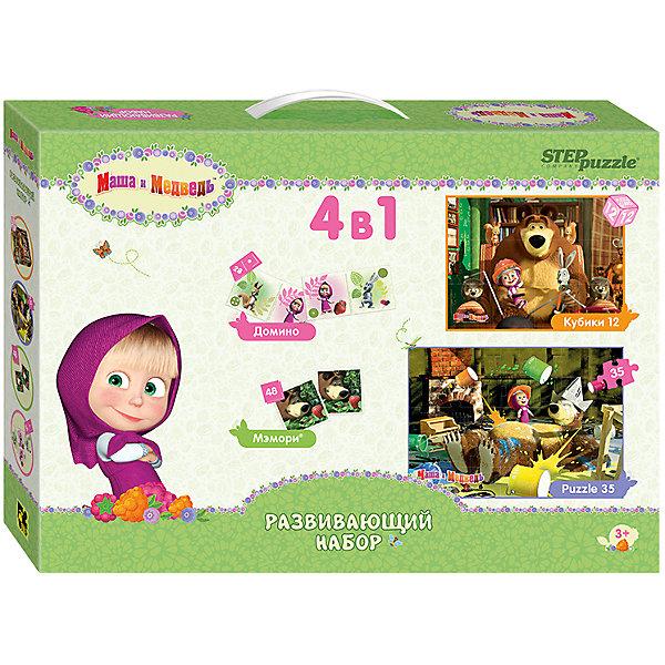 Развивающий набор 4 в 1 Step Puzzle Маша и МедведьОбучающие игры<br>Характеристики товара:<br><br>• возраст: от 3 лет;<br>• комплект: 48 карточек мэмори, 28 карточек домино, 35 элементов пазла, 12 кубиков;<br>• материал: картон, пластмасса;<br>• размер собранного пазла: 68х48 см;<br>• упаковка: картонная коробка с ручкой;<br>• размер упаковки: 41х28,5х6,5 см;<br>• бренд, страна производства: STEP puzzle, Россия.<br><br>Развивающий набор 4в1 «Маша и Медведь» содержит 4 игры: кубики, пазл на 35 элементов, настольную игру мемори и домино.<br><br>Пазл 35 с крупными деталями наиболее подходит для знакомства ребенка с процессом сборки. <br>Мэмори Цель игры - развить у ребенка память, внимание, наблюдательность. Игра состоит в подборе наибольшего количества парных карточек. <br>Домино Цель игры - развивать у ребенка внимание, наблюдательность и логическое мышление. Все игроки по очереди выкладывают свои карточки таким образом, чтобы на соприкасающихся половинках были одинаковые рисунки. <br><br>Яркие запоминающиеся образы любимых героев одноименного  мультфильма создают положительный настрой во время игры и помогают справиться с задачей.<br><br>Развивающий набор 4в1 «Маша и Медведь» можно купить в нашем интернет-магазине.<br>Ширина мм: 410; Глубина мм: 285; Высота мм: 65; Вес г: 975; Возраст от месяцев: 36; Возраст до месяцев: 2147483647; Пол: Унисекс; Возраст: Детский; SKU: 7338448;