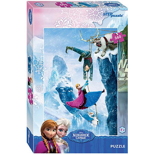 Пазл Step Puzzle Холодное сердце, 360 элементовПазлы классические<br>Характеристики товара:<br><br>• возраст: от 6 лет;<br>• количество деталей: 360;<br>• размер собранной картины: 50х34,5 см.;<br>• материал: картон;<br>• размер упаковки: 33x21x4 см.;<br>• упаковка: картонная каробка;<br>• бренд, страна производства: STEP puzzle, Россия.<br>                                                                                                                                                                                                                                                                                                                       <br>Пазл «Холодное сердце», состоящий из 360 элементов, придется по душе всей вашей семье. Собрав этот пазл, вы получите яркую детализированную картинку с изображением сюжета из одноименной любимой сказки.<br><br>Пазл выполнен из высококачественных материалов, что обеспечивает идеальное прилегание элементов друг к другу. Такой красочный постер сможет стать прекрасным украшением детской комнаты. <br><br>Собирание пазлов это не только интересно, но и полезно: ведь в процессе создания картинки развивается мелкая моторика, тренируются наблюдательность и логическое мышление.<br><br>Пазл «Холодное сердце», 360 деталей можно купить в нашем интернет-магазине.<br>Ширина мм: 335; Глубина мм: 215; Высота мм: 39; Вес г: 350; Возраст от месяцев: 72; Возраст до месяцев: 2147483647; Пол: Унисекс; Возраст: Детский; SKU: 7338450;