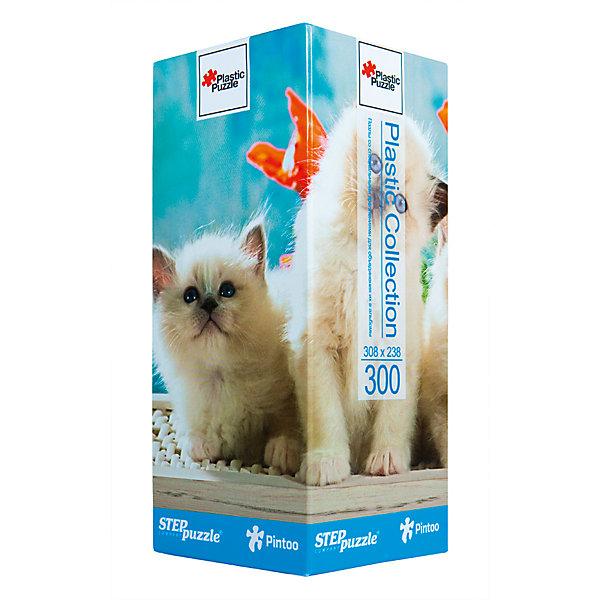 Пазл Step Puzzle Котята, 300 элементовПазлы классические<br>Характеристики товара:<br><br>• возраст: от 7 лет;<br>• количество деталей: 300;<br>• размер собранной картины: 31х24 см.;<br>• материал: пластмасса;<br>• размер упаковки: 24x10x10 см.;<br>• упаковка: картонная каробка;<br>• бренд, страна производства: STEP puzzle, Россия.<br>                                                                                                                                                                                                                                                                                                                       <br>Пазл пластиковый «Котята», состоящий из 300 элементов, придется по душе всей вашей семье. Собрав этот пазл, вы получите яркую, прочную картинку с изображением двух милых котят.<br><br>В компллект входят специальные соединительные петли, что позволяет хранить собранные пазлы как альбом. Готовый пазл удобно использовать как коврик для мышки, подставку под холодные блюда и и просто как украшение интерьера.<br><br>Собирание пазлов это не только интересно, но и полезно: ведь в процессе создания картинки развивается мелкая моторика, тренируются наблюдательность и логическое мышление.<br><br>Пазл пластиковый «Котята», 300 деталей можно купить в нашем интернет-магазине.<br>Ширина мм: 240; Глубина мм: 100; Высота мм: 100; Вес г: 400; Возраст от месяцев: 72; Возраст до месяцев: 2147483647; Пол: Унисекс; Возраст: Детский; SKU: 7338456;