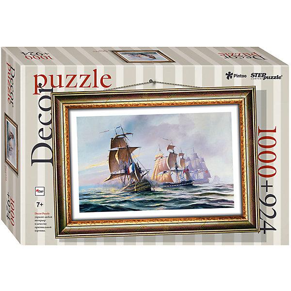 Пазл Step Puzzle Морской бой, 1000 элементов+рамкаПазлы классические<br>Характеристики товара:<br><br>• возраст: от 7 лет;<br>• количество деталей: 1924;<br>• размер собранной картины: 72,5х51,5 см.;<br>• материал: пластмасса;<br>• размер упаковки: 40x27x5,5 см.;<br>• упаковка: картонная каробка;<br>• бренд, страна производства: STEP puzzle, Россия.<br>                                                                                                                                                                                                                                                                                                                       <br>Пазл пластиковый «Морской бой» представлен как картина в рамке. На готовой картине вы получите красивое изображение захватывающего сражениях двух кораблей.<br><br>Пазл состоит из 1924 элементов, 1000 из которых - это картина, а 924 - это детали рамки. Полученной картиной можно украсить интерьер детской комнаты или гостиной. <br><br>Собирание пазлов это не только интересно, но и полезно: ведь в процессе создания картинки развивается мелкая моторика, тренируются наблюдательность и логическое мышление.<br><br>Пазл пластиковый «Морской бой» с рамкой, 1924 детали можно купить в нашем интернет-магазине.<br>Ширина мм: 400; Глубина мм: 270; Высота мм: 55; Вес г: 1384; Возраст от месяцев: 84; Возраст до месяцев: 2147483647; Пол: Унисекс; Возраст: Детский; SKU: 7338464;