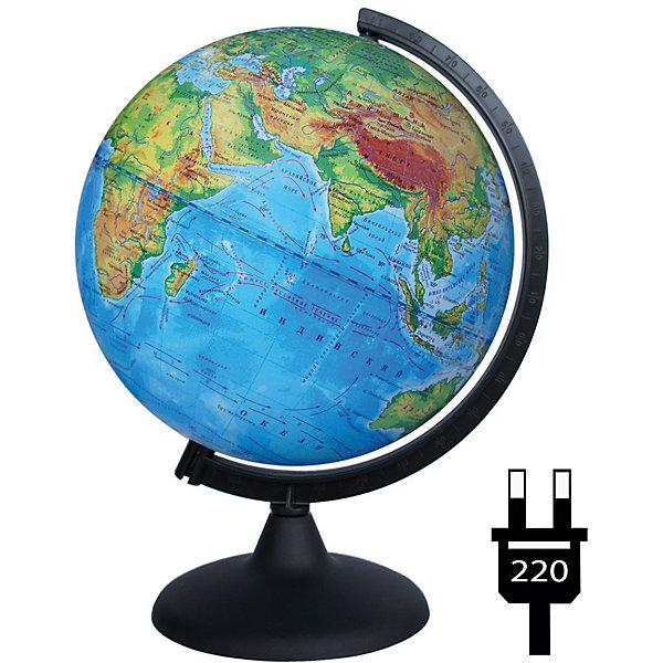 Глобус Земли физический с подсветкойГлобусы<br>Характеристики товара:<br><br>• возраст: от 6 лет;<br>• материал: пластик;<br>• диаметр: 25 см;<br>• размер упаковки: 25х26х36 см;<br>• вес упаковки: 760 гр.;<br>• страна производитель: Россия.<br><br>Глобус Земли физический с подсветкой — отличное пособие для изучения географии как для школьников, так и для студентов. Он позволит познакомиться с нашей планетой. Глобус — физический, на нем нанесены материки, моря, рельеф суши и морского дна, растительный покров, холодные и теплые течения, крупные населенные пункты. Глобус оснащен подсветкой, работающей от сети.  <br><br>Глобус Земли физический с подсветкой можно приобрести в нашем интернет-магазине.<br><br>Ширина мм: 250<br>Глубина мм: 260<br>Высота мм: 360<br>Вес г: 760<br>Возраст от месяцев: 72<br>Возраст до месяцев: 2147483647<br>Пол: Унисекс<br>Возраст: Детский<br>SKU: 7340369