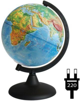 Глобусный Мир Глобус Земли физический рельефный с подсветкой