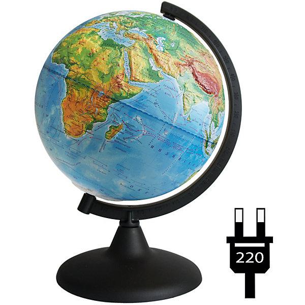 Глобус Земли физический рельефный с подсветкойГлобусы<br>Характеристики товара:<br><br>• возраст: от 6 лет;<br>• материал: пластик;<br>• диаметр: 21 см;<br>• размер упаковки: 21х22х24,6 см;<br>• вес упаковки: 580 гр.;<br>• страна производитель: Россия.<br><br>Глобус Земли физический рельефный с подсветкой — отличное пособие для изучения географии как для школьников, так и для студентов. Он позволит познакомиться с нашей планетой. Глобус — физический, на нем нанесены материки, моря, рельеф суши и морского дна, растительный покров, холодные и теплые течения, крупные населенные пункты. Глобус оснащен подсветкой, работающей от сети.<br><br>Глобус Земли физический рельефный с подсветкой можно приобрести в нашем интернет-магазине.<br>Ширина мм: 210; Глубина мм: 220; Высота мм: 246; Вес г: 580; Возраст от месяцев: 72; Возраст до месяцев: 2147483647; Пол: Унисекс; Возраст: Детский; SKU: 7340372;