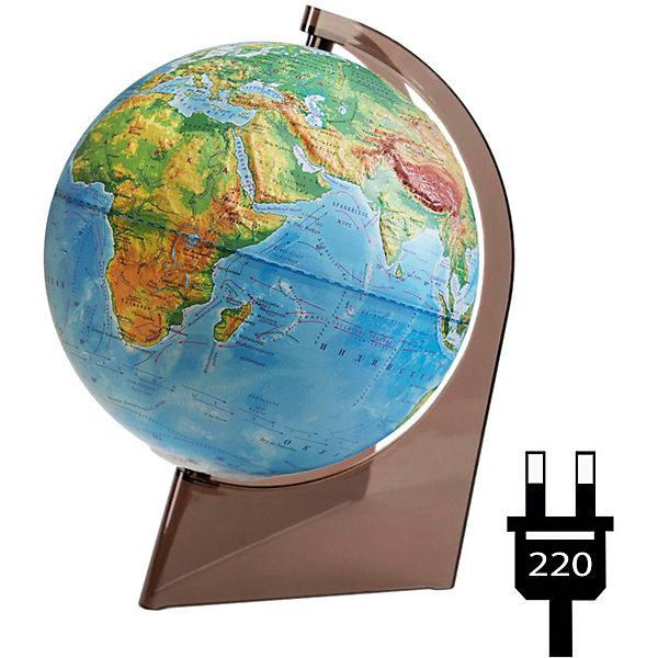 Глобус Земли физический рельефный на треугольнике с подсветкойГлобусы<br>Характеристики товара:<br><br>• возраст: от 6 лет;<br>• материал: пластик;<br>• диаметр: 21 см;<br>• размер упаковки: 21х22х29,5 см;<br>• вес упаковки: 580 гр.;<br>• страна производитель: Россия.<br><br>Глобус Земли физический рельефный на треугольнике с подсветкой — отличное пособие для изучения географии как для школьников, так и для студентов. Он позволит познакомиться с нашей планетой. Глобус — физический, на нем нанесены материки, моря, рельеф суши и морского дна, растительный покров, холодные и теплые течения, крупные населенные пункты. Глобус оснащен подсветкой, работающей от сети. Подставка, выполненная в виде треугольника, отличается хорошей устойчивостью. Выполнена из качественного пластика.<br><br>Глобус Земли физический рельефный на треугольнике с подсветкой можно приобрести в нашем интернет-магазине.<br>Ширина мм: 210; Глубина мм: 220; Высота мм: 295; Вес г: 580; Возраст от месяцев: 72; Возраст до месяцев: 2147483647; Пол: Унисекс; Возраст: Детский; SKU: 7340373;