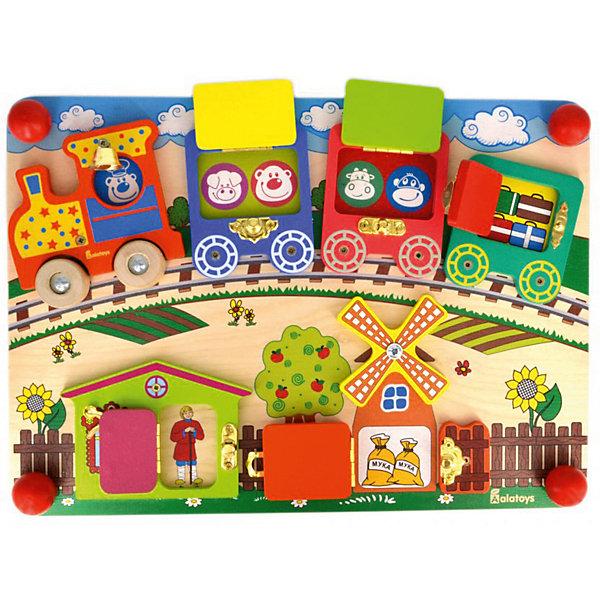 Бизиборд Alatoys ВагончикиДеревянные игрушки<br>Характеристики товара:<br><br>• возраст: от 3 лет;<br>• размер: 25х35 см;<br>• материал: дерево, металл, пластик;<br>• размер упаковки: 39х26х7 см;<br>• страна бренда: Россия.<br><br>Бизиборд Вагончики познакомит малыша с разнообразными замочками и дверцами, которые обязательно встретятся ему в жизни. Бизиборд выполнен в виде прямоугольного игрового поля, на котором находится локомотив с тремя вагонами. Рядом с железной дорогой стоят домики и мельница. Играя, малыш научится звонить в колокольчик машиниста, крутить колеса поезда и открывать замки. <br><br>Чтобы узнать, что находится за дверцей, ребенку придется постараться и открыть замочек. Игра с бизибордом способствует развитию мелкой моторики, координации движений и фантазии. Игрушка изготовлена из дерева и окрашена гипоаллергенными красителями.<br><br>Бизиборд Вагончики , Alatoys (Алатойс) можно купить в нашем интернет-магазине.<br>Ширина мм: 380; Глубина мм: 65; Высота мм: 260; Вес г: 880; Возраст от месяцев: 36; Возраст до месяцев: 72; Пол: Унисекс; Возраст: Детский; SKU: 7340547;