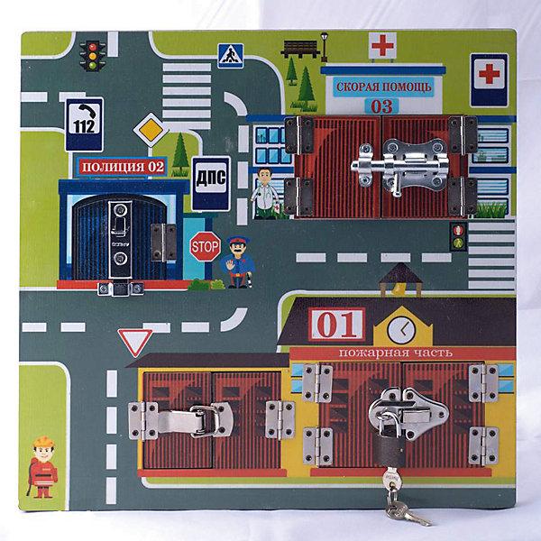 Бизиборд Нескучные игры Замочки Экстренные службыДеревянные игрушки<br>Характеристики товара:<br><br>• в комплекте: доска, 4 машинки-вкладыша с подставками, замок, ключи;<br>• возраст: от 3 лет;<br>• размер: 31х31х1,2 см;<br>• материал: дерево, металл;<br>• размер упаковки: 31х31х3 см;<br>• страна бренда: Россия.<br><br>Бизиборд Экстренные службы познакомит малыша с работой скорой помощи, полиции и пожарной части. Квадратная доска размером 31х31 см состоит из трех частей, на каждой из которых находится здание экстренной службы. Ребенку необходимо открыть дверцу, поставить подходящую машинку и познакомиться с тематическим стихотворением. В комплект входит навесной замок и ключ. <br><br>Игра с бизибордом способствует развитию мелкой моторики, координации движений, воображения, памяти. Игрушка выполнена из дерева и окрашена нетоксичными красителями.<br><br>Бизиборд Замочки Экстренные службы, Нескучные игры можно купить в нашем интернет-магазине.<br><br>Ширина мм: 310<br>Глубина мм: 30<br>Высота мм: 310<br>Вес г: 830<br>Возраст от месяцев: 36<br>Возраст до месяцев: 72<br>Пол: Унисекс<br>Возраст: Детский<br>SKU: 7340550