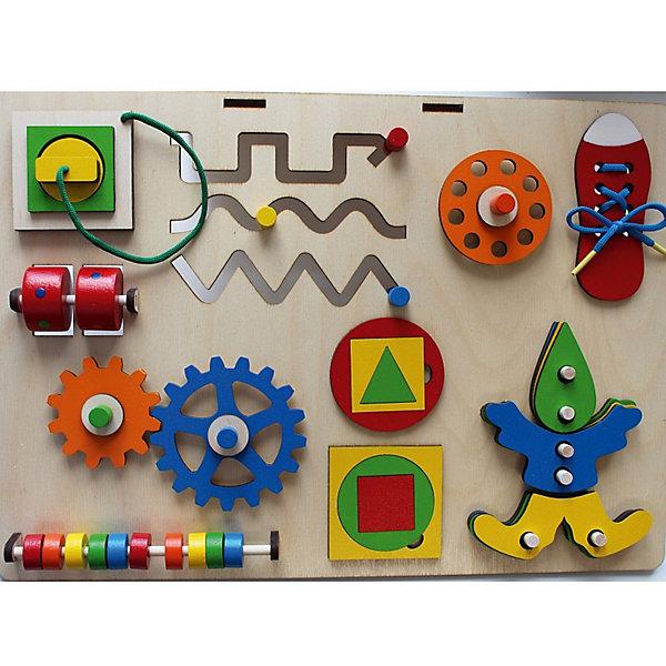 Бизиборд Крона РазвивайкаРазвивающие игрушки<br>Характеристики товара:<br><br>• возраст: от 1 года;<br>• размер: 42х30 см;<br>• материал: дерево, текстиль;<br>• размер упаковки:42х30х10 см;<br>• страна бренда: Россия.<br><br>Бизиборд Развивайка - отличная возможность в игровой форме  развить мышление и мелкую моторику ребенка. Бизиборд состоит из различных развивающих элементов: счеты, лабиринты, шнуровка, рамки-вкладыши, шестеренки. С помощью счетов можно познакомить малыша с цветами и счетом. Фигурки розетки и вилки помогут родителям познакомить ребенка с правилами безопасностями и особенностями работы бытовой техники. А с ярким ботиночком малыш с радостью научится завязывать шнурки. <br><br>Игра с бизибордом Развивайка познакомит ребенка с понятиями «часть», «целое», научит различать цвета, считать, собирать фигурки и  пазлы. С частями фигурки человечка можно играть отдельно, создавая разнообразные фигуры и композиции. Игрушка изготовлена из дерева и окрашена безопасными красителями.<br><br>Бизиборд Развивайка, Крона можно купить в нашем интернет-магазине.<br>Ширина мм: 420; Глубина мм: 100; Высота мм: 300; Вес г: 900; Возраст от месяцев: 36; Возраст до месяцев: 72; Пол: Унисекс; Возраст: Детский; SKU: 7340552;