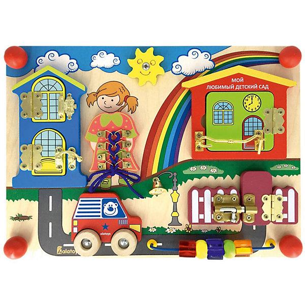 Бизиборд Alatoys Солнечный деньДеревянные игрушки<br>Характеристики товара:<br><br>• возраст: от 1 года;<br>• размер: 35х25 см;<br>• материал: дерево, пластик, металл, текстиль;<br>• размер упаковки: 38х26х6,5 см;<br>• страна бренда: Россия.<br><br>Бизиборд Солнечный день - развивающая доска для детей от 12 месяцев. Игра с бизибордом способствует развитию мелкой моторики, координации движений, пониманию причинно-следственных связей и воображения. Игрушка изготовлена из экологически чистой древесины и окрашена нетоксичными красителями.<br><br>На доске расположены двухэтажный дом, детский сад с калиткой, машинка, девочка, солнышко и бусы. Открывая замочки, малыш узнает, кто находится за дверцей. Бусы имеют разные поверхности, что особенно важно для развития мелкой моторики. Колеса машины можно крутить, изображая движение. На платье девочки находится шнуровка, чтобы малыш мог научиться завязывать узелки и бантики. <br><br>Бизиборд Солнечный день 350*250*55 , Alatoys (Алатойс) можно купить в нашем интернет-магазине.<br><br>Ширина мм: 380<br>Глубина мм: 65<br>Высота мм: 260<br>Вес г: 920<br>Возраст от месяцев: 36<br>Возраст до месяцев: 72<br>Пол: Унисекс<br>Возраст: Детский<br>SKU: 7340553