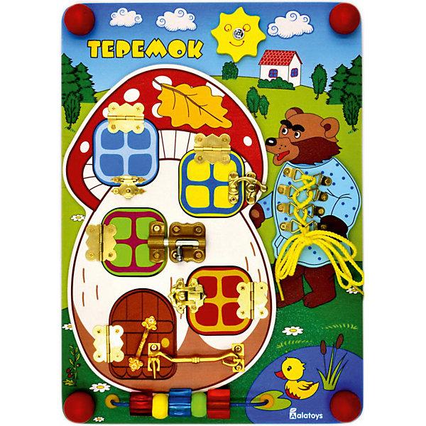 Бизиборд Alatoys ТеремокДеревянные игрушки<br>Характеристики товара:<br><br>• возраст: от 1 года;<br>• размер: 35х25 см;<br>• материал: дерево, пластик, металл, текстиль;<br>• размер упаковки: 38х26х6,5 см;<br>• страна бренда: Россия.<br><br>Бизиборд от Alatoys создан по мотивам сказки Теремок. На деревянной доске размером 35х25 сантиметров расположены теремок с окошками, Мишка и бусы. Чтобы узнать, какое животное скрывается за окошком, малышу необходимо открыть замочек на окне. Мишка дополнен шнуровкой, которая научит ребенка шнуровать, завязывать узелки и бантики. Бусины имеют разные рельефные поверхности, подвижны. Игра с бизибордом развивает мелкую моторику, координацию движений, мышление и воображение. <br><br>Игрушка выполнена из качественной древесины, окрашена гипоаллергенными красителями.<br><br>Бизиборд Теремок 350*250*55 , Alatoys (Алатойс) можно купить в нашем интернет-магазине.<br><br>Ширина мм: 380<br>Глубина мм: 65<br>Высота мм: 260<br>Вес г: 890<br>Возраст от месяцев: 36<br>Возраст до месяцев: 72<br>Пол: Унисекс<br>Возраст: Детский<br>SKU: 7340554
