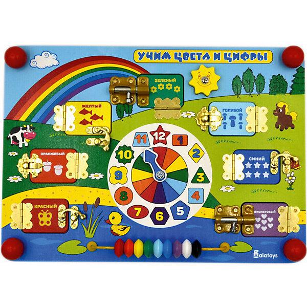 Бизиборд Alatoys Учим цифры и цветаРазвивающие игрушки<br>Характеристики товара:<br><br>• возраст: от 1 года;<br>• размер: 35х25 см;<br>• материал: дерево, пластик, металл, текстиль;<br>• размер упаковки: 38х26х6,5 см;<br>• страна бренда: Россия.<br><br>На поверхности бизиборда «Учим цифры и цвета» ребенок увидит циферблат, разноцветные окошки и разноцветные бусы. С помощью циферблата со стрелкой родители смогут научить малыша определять время по часам. Цветные окошки помогут ребенку выучить все цвета радуги. <br><br>На каждом окошке нарисованы разные предметы в количестве от одного до семи. Малышу необходимо посчитать предметы и назвать правильный ответ. Чтобы увидеть верную цифру, ребенок может открыть окошко с замочком. Игра с бизибордом прекрасно развивает мелкую моторику, координацию движений, тактильное восприятие и воображение. Игрушка изготовлена из дерева и окрашена безопасными красителями.<br><br>Бизиборд Учим цифры и цвета 350*250*55 , Alatoys (Алатойс) можно купить в нашем интернет-магазине.<br>Ширина мм: 380; Глубина мм: 65; Высота мм: 260; Вес г: 850; Возраст от месяцев: 36; Возраст до месяцев: 72; Пол: Унисекс; Возраст: Детский; SKU: 7340555;