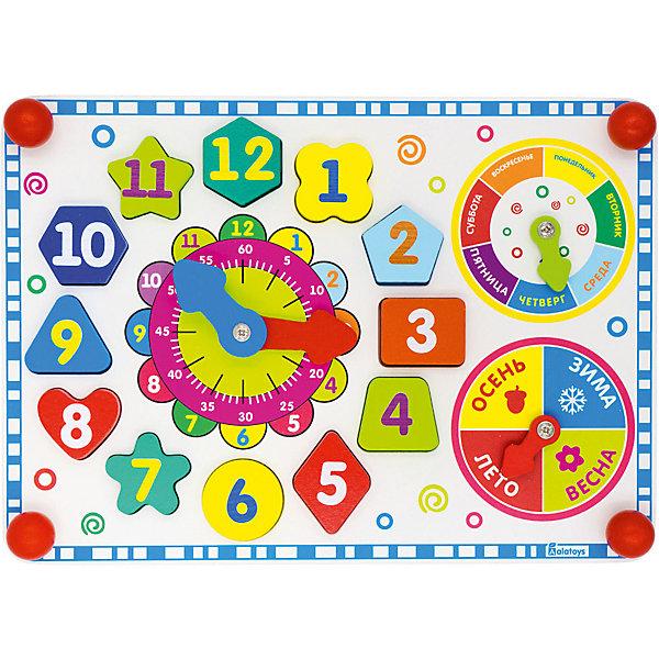 Бизиборд Alatoys ЧасикиРазвивающие игрушки<br>Характеристики товара:<br><br>• возраст: от 1 года;<br>• размер: 35х25 см;<br>• материал: дерево, металл;<br>• размер упаковки: 38х26х6,5 см;<br>• страна бренда: Россия.<br><br>Бизиборд Часики поможет познакомить ребенка с часами, минутами, временами года, днями недели. Часики со стрелочками дополнены небольшим циферблатом с изображением минут. Стрелочки часов подвижны, чтобы ребенок мог установить стрелки, а затем определить время. Вокруг часиков расположены фигурки, которые ребенок достанет из пазов, а затем сложит обратно в правильном порядке.<br><br>Кружок со стрелочкой, рассказывающий о временах года, состоит из четырех частей. На каждой части нанесен рисунок, соответствующий времени года. Часики с днями недели дополнены стрелочкой. 7 частей часиков выполнены в семи цветах радуги, что, несомненно, привлечет внимание крохи. Игрушка с бизибордом поможет развить мелкую моторику, координацию движений, память и логическое мышление. Игрушка изготовлена из качественной древесины, окрашена гипоаллергенными красителями.<br><br>Бизиборд Часики , Alatoys (Алатойс) можно купить в нашем интернет-магазине.<br><br>Ширина мм: 380<br>Глубина мм: 70<br>Высота мм: 260<br>Вес г: 340<br>Возраст от месяцев: 36<br>Возраст до месяцев: 72<br>Пол: Унисекс<br>Возраст: Детский<br>SKU: 7340556