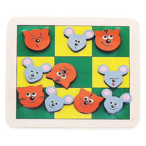 Настольная игра Крона Крестики-ноликиСтратегические настольные игры<br>Развивающая игрушка-пазл в сочетании с возможность популярной игры в Крестики-нолики! Яркая деревянная мозаика-вкладыш Крона! В деревянной рамке сделаны углубления, в которые выкладывается шахматка квадратиков. Также в наборе есть 4 фигурки котиков и 4 - мышат, для игры в крестики-нолики.На мордочках зверьков нарисованы различные эмоции - радость, ухмылка, сонливость, грусть. Яркие краски вкладыша активируют зрительное восприятие, мозаика тренирует моторику и образное мышление. Может использоваться для обучения счету. Развивает образное мышление, воображение, мелкую моторику, усидчивость.<br><br>Ширина мм: 180<br>Глубина мм: 20<br>Высота мм: 180<br>Вес г: 260<br>Возраст от месяцев: 36<br>Возраст до месяцев: 72<br>Пол: Унисекс<br>Возраст: Детский<br>SKU: 7340557