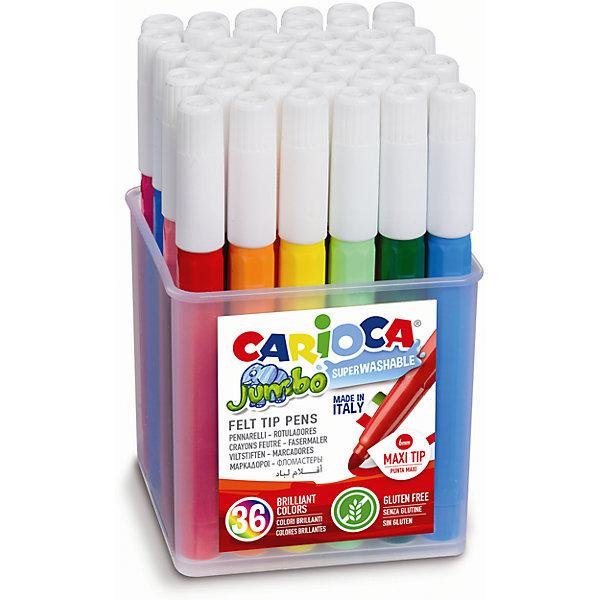 Набор фломастеров CARIOCA JUMBO, 36 цв., в пластиковом боксеФломастеры<br>Характеристики товара:<br><br>• Возраст: от 3 лет;<br>• Количество цветов: 36;<br>• Толщина линии письма: 6 мм;<br>• Тип упаковки: пластиковый бокс;<br>• Количество в упаковке: 36 шт.;<br>• Шестигранный корпус<br>• Нетоксичные<br>• Суперсмываемые - cмываются с кожи без мыла<br>• Вентилируемый колпачок<br>• Ударопрочный пишущий узел<br>• Размер упаковки: 6х6х15 см;<br>• Вес: 600гр.;<br>• Страна происхождения: Италия.<br><br>Набор фломастеров CARIOCA JUMBO, 36 цв., в пластиковом боксе можно купить в нашем интернет-магазине.<br>Ширина мм: 60; Глубина мм: 60; Высота мм: 150; Вес г: 600; Возраст от месяцев: 36; Возраст до месяцев: 2147483647; Пол: Унисекс; Возраст: Детский; SKU: 7340761;