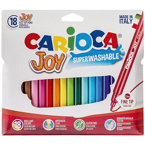 Набор фломастеров CARIOCA JOY, 18 цв., в картонном конверте с европодвесомФломастеры<br>Характеристики товара:<br><br>• Возраст: от 3 лет;<br>• Количество цветов: 18;<br>• Толщина линии письма: 2,6 мм;<br>• Тип упаковки: картонный конверт с европодвесом;<br>• Количество в упаковке: 18 шт.;<br>• Шестигранный корпус<br>• Нетоксичные<br>• Суперсмываемые - cмываются с кожи без мыла<br>• Вентилируемый колпачок<br>• Ударопрочный пишущий узел<br>• Размер упаковки: 6х6х15 см;<br>• Вес: 600гр.;<br>• Страна происхождения: Италия.<br><br>Набор фломастеров CARIOCA JOY, 18 цв., в картонном конверте с европодвесом можно купить в нашем интернет-магазине.<br>Ширина мм: 150; Глубина мм: 10; Высота мм: 150; Вес г: 150; Возраст от месяцев: 36; Возраст до месяцев: 2147483647; Пол: Унисекс; Возраст: Детский; SKU: 7340765;