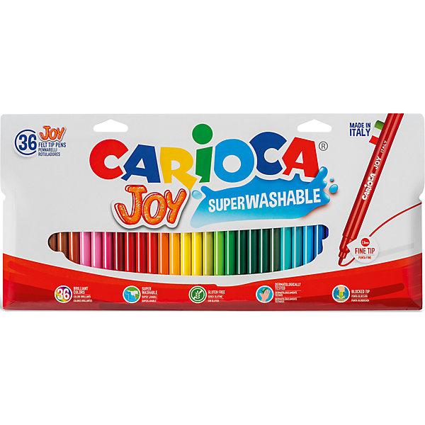 Набор фломастеров CARIOCA JOY, 36 цв., в картонном конверте с европодвесомФломастеры<br>Характеристики товара:<br><br>• Возраст: от 3 лет;<br>• Количество цветов: 36;<br>• Толщина линии письма: 2,6 мм;<br>• Тип упаковки: картонный конверт;<br>• Количество в упаковке: 36 шт.;<br>• Нетоксичные<br>• Суперсмываемые - cмываются с кожи без мыла<br>• Вентилируемый колпачок<br>• Ударопрочный пишущий узел<br>• Размер упаковки: 30х1х15 см;<br>• Вес: 300гр.;<br>• Страна происхождения: Италия.<br><br>Набор фломастеров CARIOCA JUMBO, 36 цв., в картонном конверте можно купить в нашем интернет-магазине.<br>Ширина мм: 300; Глубина мм: 10; Высота мм: 150; Вес г: 300; Возраст от месяцев: 36; Возраст до месяцев: 2147483647; Пол: Унисекс; Возраст: Детский; SKU: 7340767;