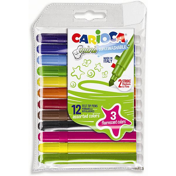 Набор фломастеров CARIOCA MINI, 12 цв. (включая 3 флюоресцентных)Фломастеры<br>Характеристики товара:<br><br>• Возраст: от 3 лет;<br>• Количество цветов: 12, в том числе 3 флюоресцентных<br>• Тип письма: односторонний одноцветный<br>• Толщина линии письма: 1 мм / 4,7 мм<br>• Тип упаковки: блистер с европодвесом<br>• Количество в упаковке: 12 шт.<br>• Длина фломастера 10 см.<br>• Суперсмываемые<br>• Вентилируемый колпачок<br>• Ударопрочный пишущий узел<br>• Не содержат глютен<br>• Размер упаковки: 10х1х15 см;<br>• Вес: 138 гр.;<br>• Страна происхождения: Италия.<br><br>Набор фломастеров CARIOCA MINI, 12 цв. (включая 3 флюоресцентных) можно купить в нашем интернет-магазине.<br>Ширина мм: 110; Глубина мм: 10; Высота мм: 150; Вес г: 80; Возраст от месяцев: 36; Возраст до месяцев: 2147483647; Пол: Унисекс; Возраст: Детский; SKU: 7340771;
