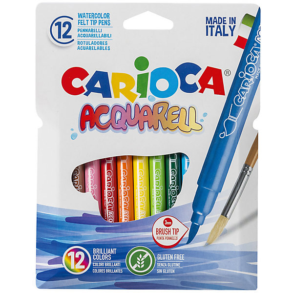 Набор фломастеров CARIOCA ACQUARELL, 12 цв., в картонном конверте с европодвесомФломастеры<br>Характеристики товара:<br><br>• Возраст: от 3 лет;<br>• Количество цветов: 12<br>• Тип письма: односторонний одноцветный<br>• Наконечники-кисти<br>• Тип упаковки: картонный конверт с европодвесом<br>• Количество в упаковке: 12 шт.<br>• Длина фломастера 10 см.<br>• Суперсмываемые<br>• Вентилируемый колпачок<br>• Ударопрочный пишущий узел<br>• Не содержат глютен<br>• Размер упаковки: 10х1х15 см;<br>• Вес: 101 гр.;<br>• Страна происхождения: Италия.<br><br>Набор фломастеров CARIOCA ACQUARELL, 12 цв., в картонном конверте с европодвесом можно купить в нашем интернет-магазине.<br><br>Ширина мм: 100<br>Глубина мм: 10<br>Высота мм: 150<br>Вес г: 101<br>Возраст от месяцев: 36<br>Возраст до месяцев: 2147483647<br>Пол: Унисекс<br>Возраст: Детский<br>SKU: 7340772