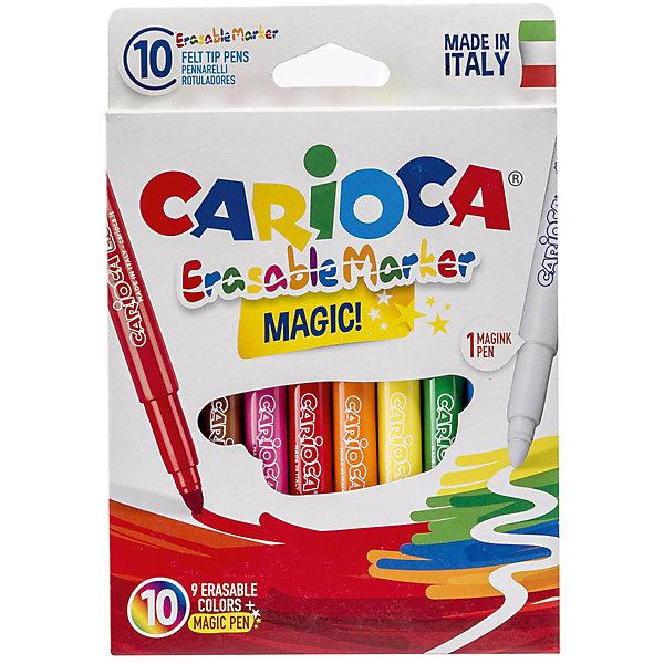 Набор стирающихся фломастеров CARIOCA MAGIC, 10 шт., в картонной коробке с европодвесомФломастеры<br>Характеристики товара:<br><br>• Возраст: от 3 лет;<br>• Количество цветов: 9<br>• Тип письма: односторонний<br>• Толщина линии письма: 6 мм<br>• Тип упаковки: короб с европодвесом<br>• Количество в упаковке: 10  шт. (1 стирающий, 9 шт цветные)<br>• Смываемые<br>• Вентилируемый колпачок<br>• Ударопрочный пишущий узел<br>• Не содержат глютен<br>• Размер упаковки: 10х1х16 см;<br>• Вес: 121 гр.;<br>• Страна происхождения: Италия.<br><br>Яркие фломастеры бренда Кариока сделают рисунок ярче и необычнее. Если рисунок надо исправить - не беда! В наборе есть фломастер - выручалочка, который может стереть линию, которая не нужна на рисунке.<br> <br>Набор стирающихся фломастеров CARIOCA MAGIC, 10 шт., в картонной коробке с европодвесом можно купить в нашем интернет-магазине.<br><br>Ширина мм: 100<br>Глубина мм: 10<br>Высота мм: 160<br>Вес г: 120<br>Возраст от месяцев: 36<br>Возраст до месяцев: 2147483647<br>Пол: Унисекс<br>Возраст: Детский<br>SKU: 7340776