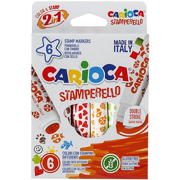 Набор фломастеров-штампиков CARIOCA STAMPERELLO, 6 цв., в картонной коробке с европодвесомФломастеры<br>Характеристики товара:<br><br>• Возраст: от 3 лет;<br>• Количество цветов: 6<br>• Тип письма: двухсторонний (фломастер+печать)<br>• Толщина линии письма: 7 мм<br>• Тип упаковки: картонная коробка с европодвесом<br>• Количество в упаковке: 6 шт.<br>• Смываемые<br>• Вентилируемый колпачок<br>• Ударопрочный пишущий узел<br>• Не содержат глютен<br>• Размер упаковки: 5х1х15 см;<br>• Вес: 92 гр.;<br>• Страна происхождения: Италия.<br><br>Яркие фломастеры бренда Кариока сделают рисунок ярче и необычнее. С обратной стороны каждого фломастера, маленький художник найдет печать, которой украсит свой рисунок.<br> <br>Набор фломастеров-штампиков CARIOCA STAMPERELLO, 6 цв., в картонной коробке с европодвесом можно купить в нашем интернет-магазине.<br>Ширина мм: 50; Глубина мм: 10; Высота мм: 150; Вес г: 91; Возраст от месяцев: 36; Возраст до месяцев: 2147483647; Пол: Унисекс; Возраст: Детский; SKU: 7340777;
