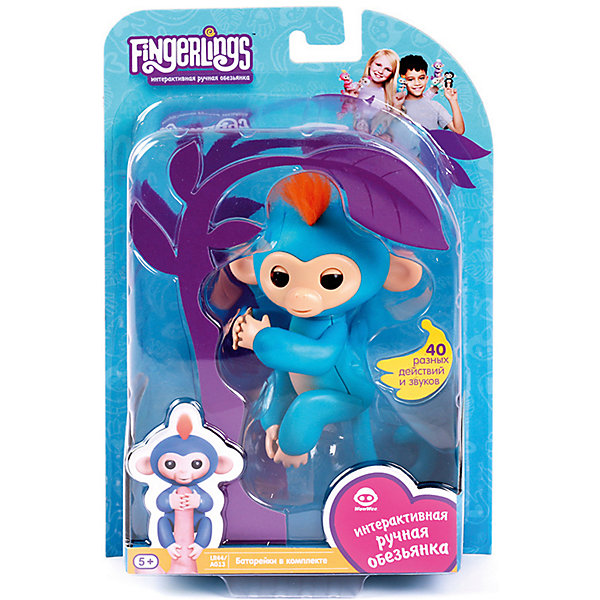 Купить Интерактивная обезьянка Fingerlings Борис, 12 см (синяя) WowWee, Гонконг, синий, Унисекс