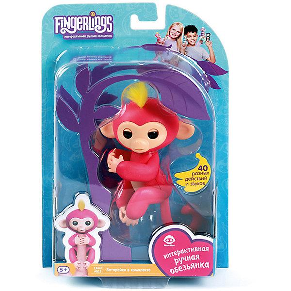 Интерактивная обезьянка Fingerlings Белла, 12 см (розовая) WowWeeИнтерактивные животные<br>Характеристики:<br><br>• возраст: от 5 лет;<br>• тип игрушки: обезьянка;<br>• размер: 15х22,5х6 см;<br>• высота: 12 см;<br>• цвет: розовый;<br>• материал: пластмасса, резина;<br>• тип батарейки: 4 батарейки LR44;<br>• комплектация: входят в комплект;<br>• страна изготовления: Китай;<br>• бренд: WowWee.<br><br>FINGERLINGS «Интерактивная  обезьянка  Белла» (розовая), 12 см – «живая» веселая обезьянка, которая умеет цепляться за палец или закрепляться на любой поверхности с помощью хвостика. Эти малыши, выполненные на базе последних разработок в мире игрушечной робототехники, обязательно удивят и очаруют ребенка. Игрушка подходит для детей от 5 лет. Для работы потребуются 4 батарейки  LR44 (входят в комплект).<br><br>Обезьянки умеют реагировать на движение и голос, в ответ на прикосновение выполнять более 40 различных действий, издавать более 50 звуковых сигналов, цепляться лапками за палец или любые другие мелкие предметы, висеть головой вниз, закрепляясь хвостиком за любую поверхность, общаться с другими обезьянками «Fingerlings», посылать воздушные поцелуи, если подуть в мордочку. <br><br>FINGERLINGS «Интерактивную  обезьянку  Белла»  (розовая), 12 см можно купить в нашем интернет-магазине.<br>Ширина мм: 15; Глубина мм: 22; Высота мм: 6; Вес г: 180; Цвет: розовый; Возраст от месяцев: 60; Возраст до месяцев: 2147483647; Пол: Унисекс; Возраст: Детский; SKU: 7342562;
