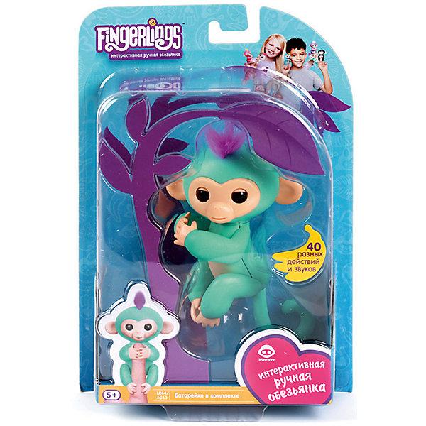 Купить Интерактивная обезьянка Fingerlings Зоя, 12 см (зеленая) WowWee, Гонконг, голубой, Унисекс